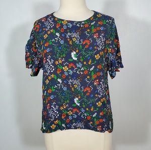 H&M Navy Floral Print Short Sleeve Blouse